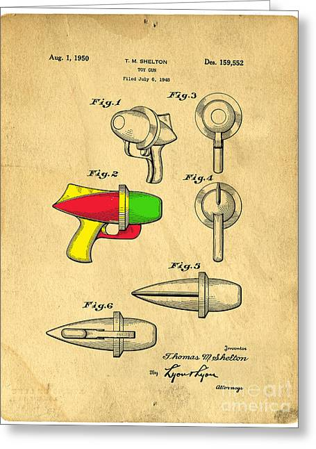 Cartoon Alien Greeting Cards - Toy Ray Gun Patent II Greeting Card by Edward Fielding