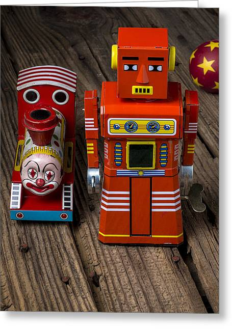 Robotic Greeting Cards - Toy robot and train Greeting Card by Garry Gay