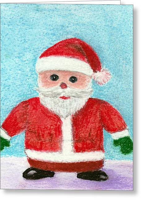 Christmas Pastels Greeting Cards - Toy Santa Greeting Card by Anastasiya Malakhova