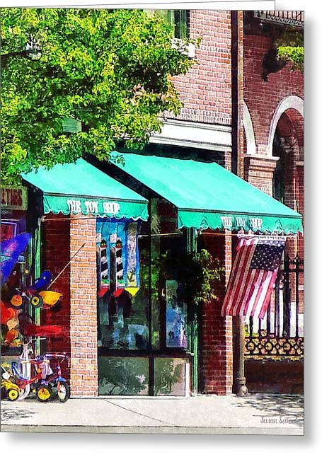 American Flag Greeting Cards - Toy Shop Bristol RI Greeting Card by Susan Savad