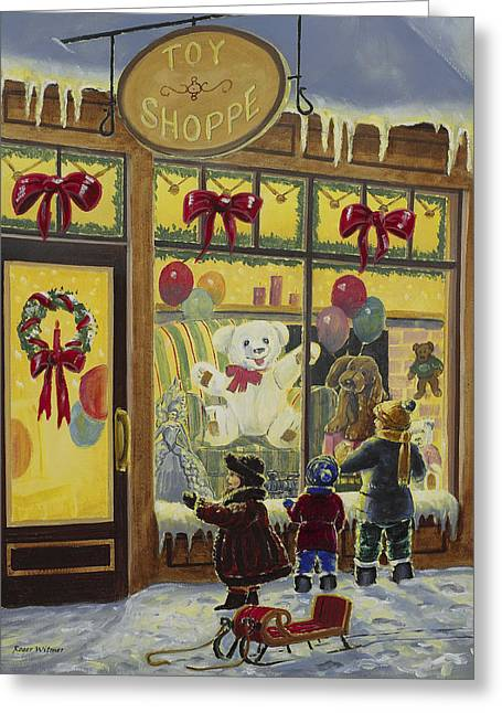 Toy Shop Paintings Greeting Cards - Toy Shoppe Greeting Card by Roger Witmer