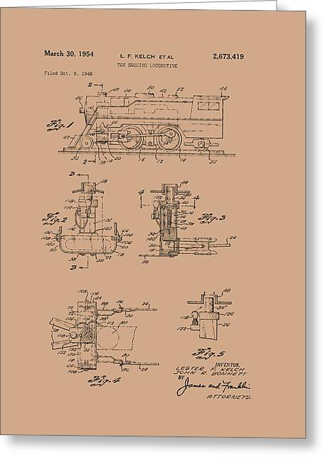 Art Product Drawings Greeting Cards - Toy Smoking Locomotive Patent 1954 Greeting Card by Mountain Dreams