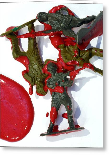 Bloodshed Greeting Cards - Toy Soldiers in a Pool of Blood Greeting Card by Amy Cicconi