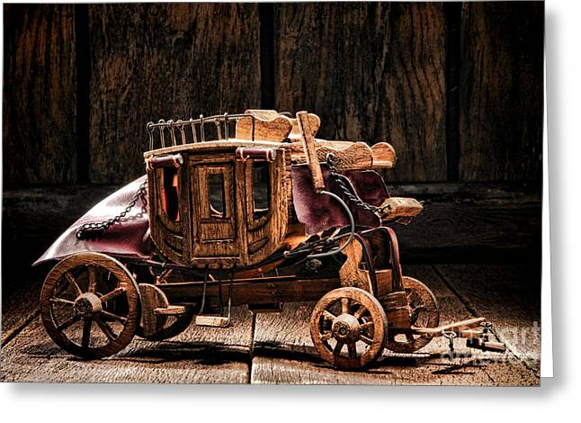 Toy Stagecoach Greeting Card by Olivier Le Queinec