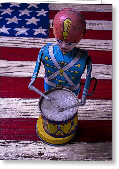 Drummers Photographs Greeting Cards - Toy Tin Drummer Greeting Card by Garry Gay
