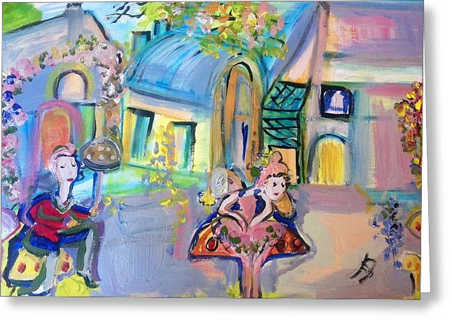 Toy Shop Paintings Greeting Cards - Toy town mushroom bus stop Greeting Card by Judith Desrosiers