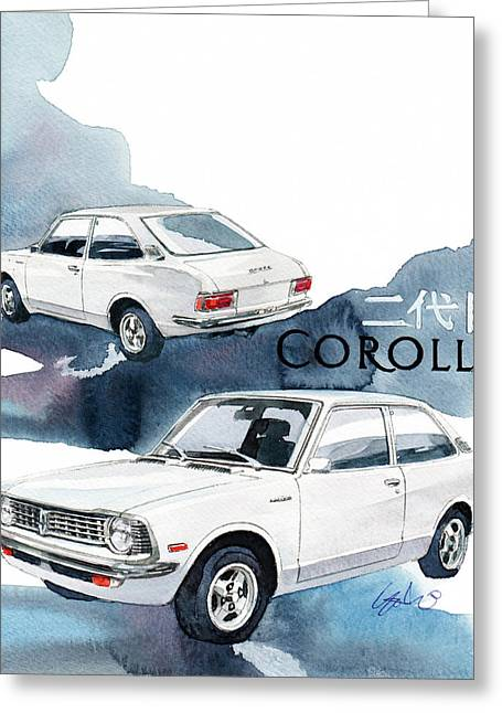 2nd Greeting Cards - Toyota Corolla  Greeting Card by Yoshiharu Miyakawa