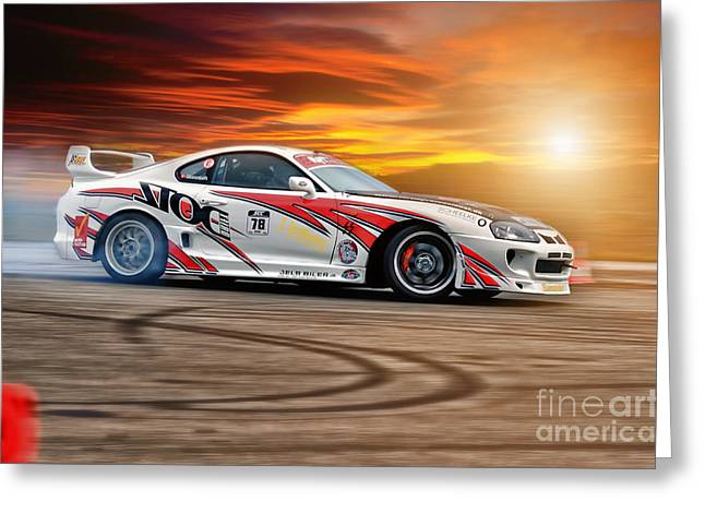 Recently Sold -  - Deutschland Greeting Cards - Toyota Drift - Sunset Greeting Card by Martin Slotta
