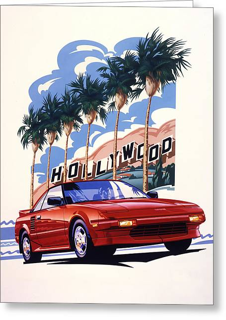 Classic Hollywood Drawings Greeting Cards - Toyota MR2 Hollywood Hills Greeting Card by Garth Glazier
