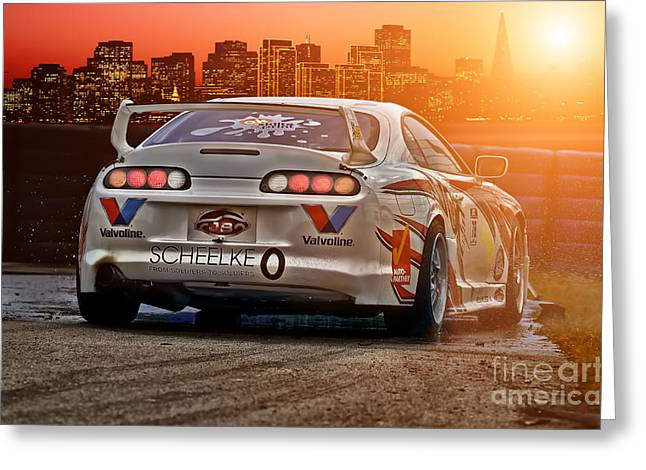 Recently Sold -  - Deutschland Greeting Cards - Toyota Supra - Sunset Greeting Card by Martin Slotta
