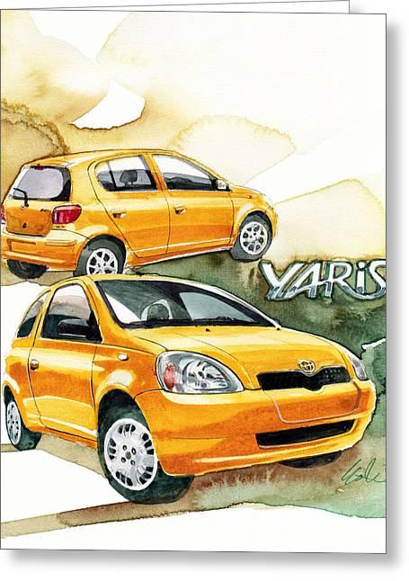 1st Greeting Cards - Toyota Yaris Greeting Card by Yoshiharu Miyakawa