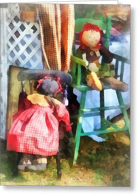 Red Greeting Cards - Toys - Two Rag Dolls at Flea Market Greeting Card by Susan Savad