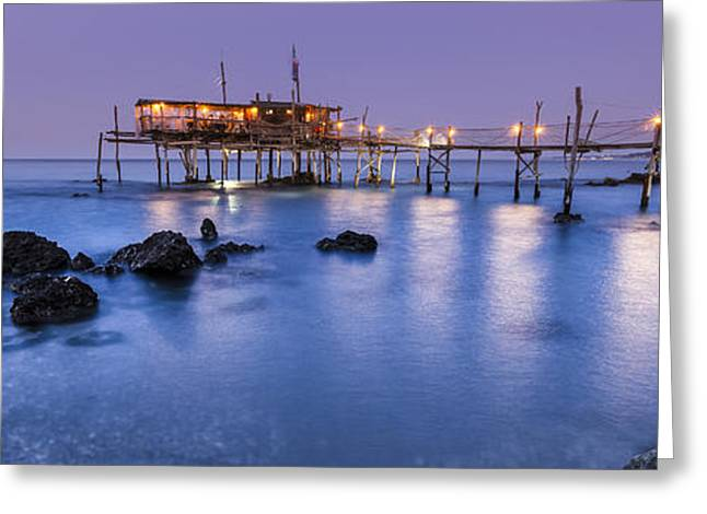 Italian Sunset Greeting Cards - Trabocco after sunset Greeting Card by Francesco Ferrarini