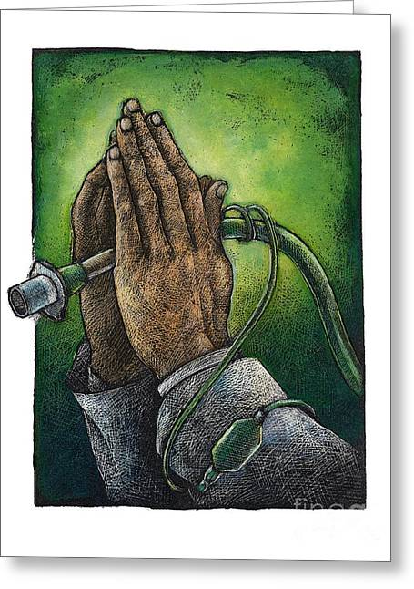 Praying Hands Greeting Cards - Trach Tube Greeting Card by Chris Van Es