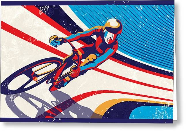Motivational Poster Greeting Cards - Track Cyclist Greeting Card by Sassan Filsoof