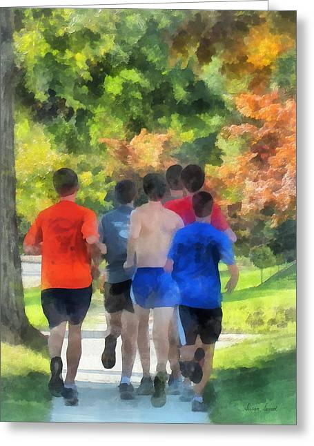 Jogging Greeting Cards - Track Practice Greeting Card by Susan Savad