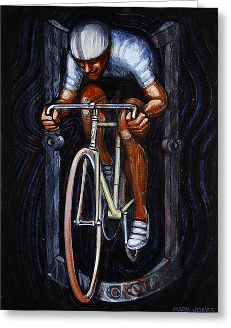 Track Racer Malcolm Cycles 1 Greeting Card by Mark Howard Jones