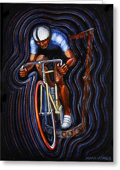 Sprinter Paintings Greeting Cards - Track Racer Malcolm Cycles 2 Greeting Card by Mark Howard Jones