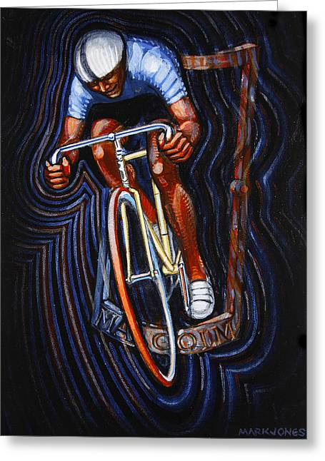 Track Racer Malcolm Cycles Greeting Card by Mark Howard Jones
