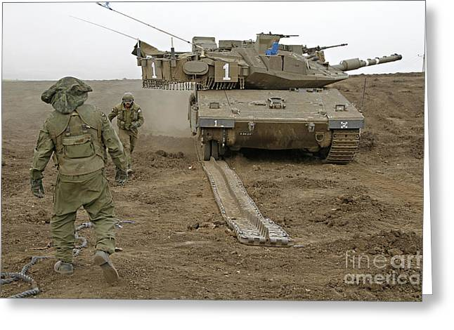 Battletank Greeting Cards - Track Replacement On A Israel Defense Greeting Card by Ofer Zidon