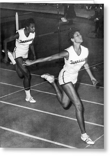Rudolph Greeting Cards - Track Star Wilma Rudolph Greeting Card by Underwood Archives