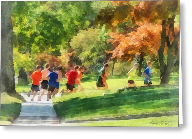 Track Team Greeting Card by Susan Savad