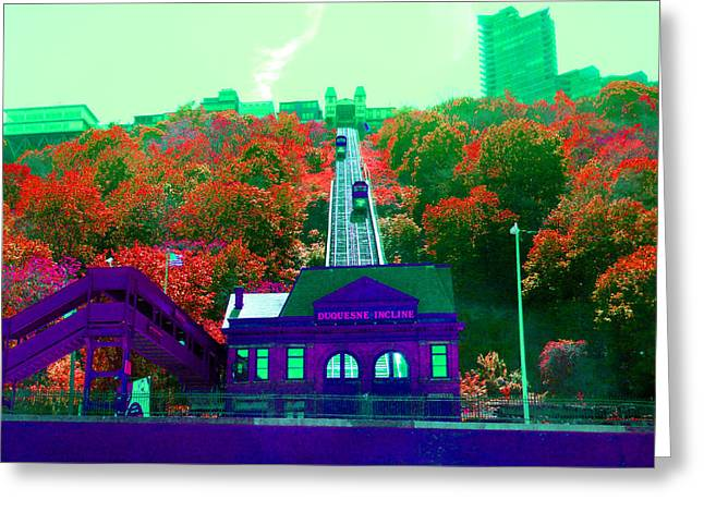Incline Digital Greeting Cards - Track Up Red Hill Greeting Card by Joseph Wiegand