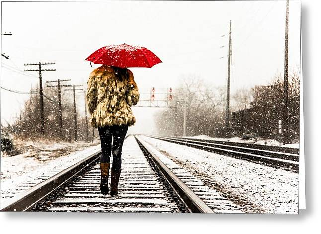 Lady With Red Umbrella Greeting Cards - Track Walk Greeting Card by Brad Tammaro