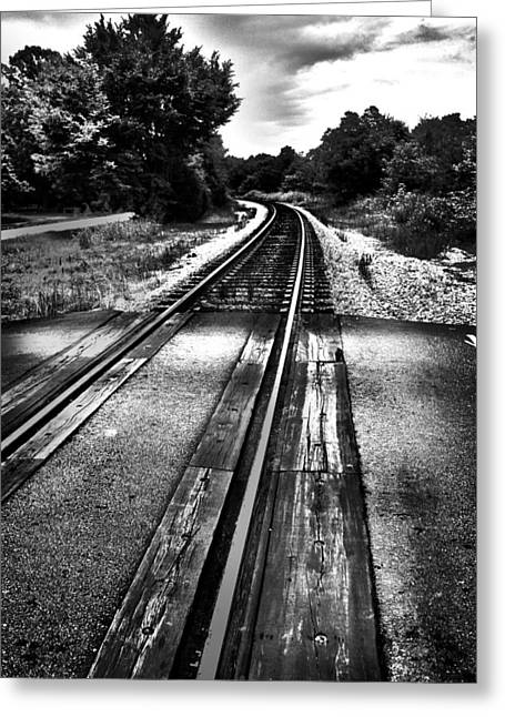 Sc Greeting Cards - Tracks Across the Line Black and White Greeting Card by Kelly Hazel