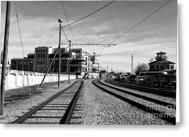 Riverwalk Greeting Cards - Tracks in New Orleans Mono Greeting Card by John Rizzuto
