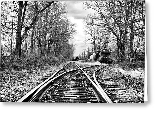 Black And White Train Track Prints Greeting Cards - Tracks of History Greeting Card by John Rizzuto
