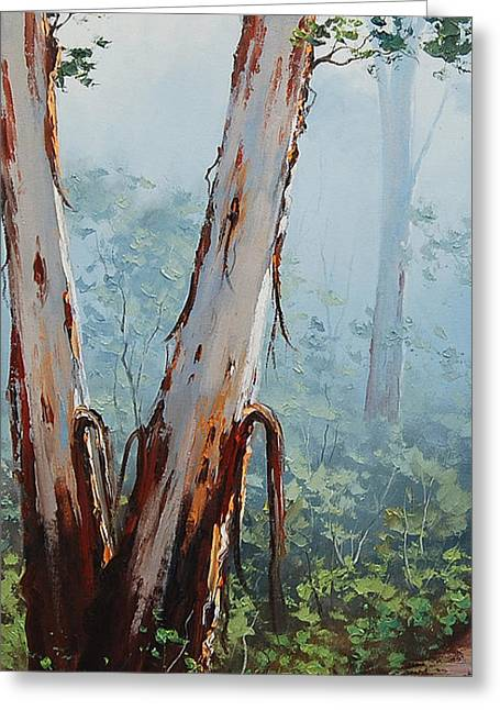 Eucalyptus Tree Greeting Cards - Trackside Gums Lithgow Greeting Card by Graham Gercken