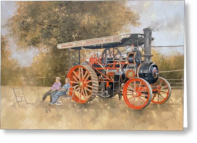 Display Greeting Cards - Traction Engine At The Great Eccleston Show, 1998 Oil On Canvas Greeting Card by Peter Miller