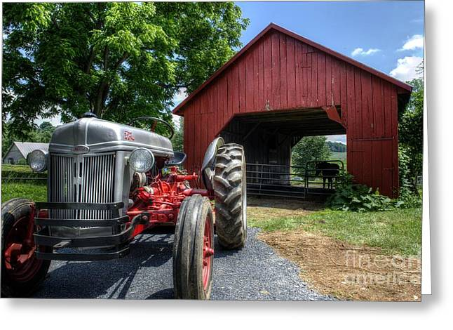 Barnstormer Greeting Cards - Tractor And Barn Greeting Card by Jason Barr