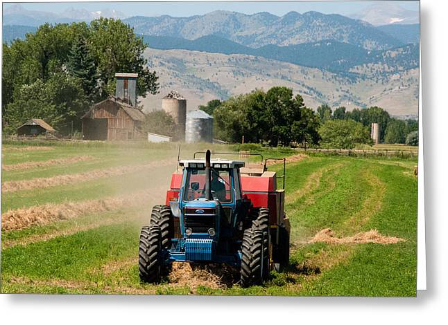 Geobob Greeting Cards - Tractor Baling Crop Residue along the Front Range near Longmont Colorado Greeting Card by Robert Ford