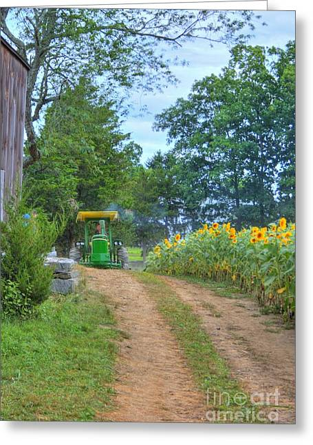 Buttonwood Farm Greeting Cards - Tractor Coming Greeting Card by Marcel  J Goetz  Sr