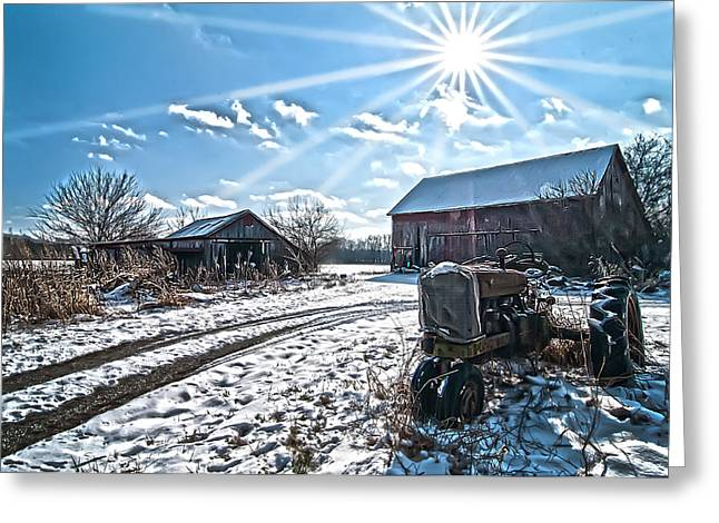 Farm Life Framed Prints Greeting Cards - Tractor Farm Winter blues Greeting Card by Randall Branham