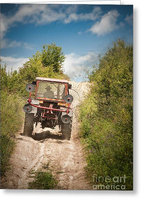 Driving Machine Greeting Cards - Tractor Greeting Card by Gabriela Insuratelu