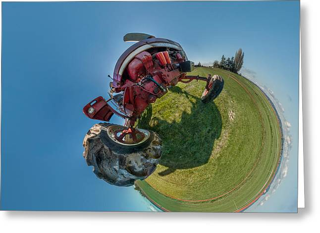 Fish Eye Lens Greeting Cards - Tractor In A Field, Everett, Snohomish Greeting Card by Panoramic Images