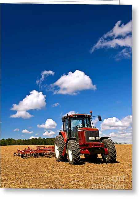 Equipment Greeting Cards - Tractor in plowed field Greeting Card by Elena Elisseeva