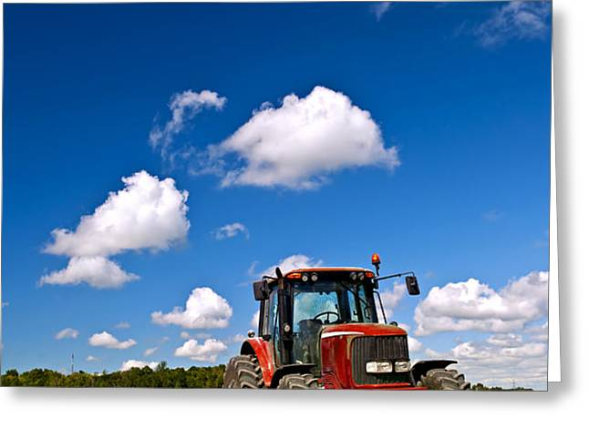 Tractor in plowed field Greeting Card by Elena Elisseeva
