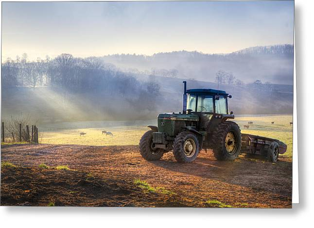 Red Roofed Barn Greeting Cards - Tractor in the Fog Greeting Card by Debra and Dave Vanderlaan