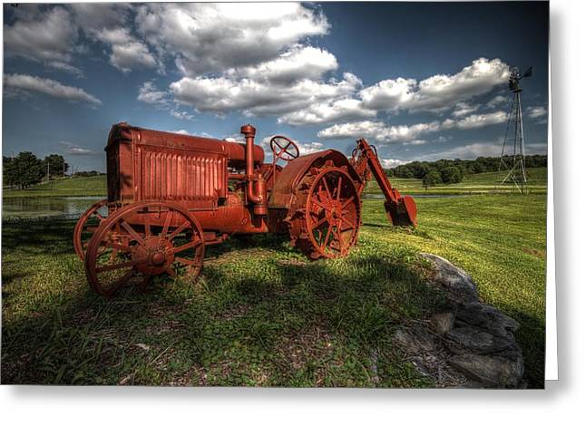Hdr Landscape Pyrography Greeting Cards - Tractor Greeting Card by Nick Jaramillo
