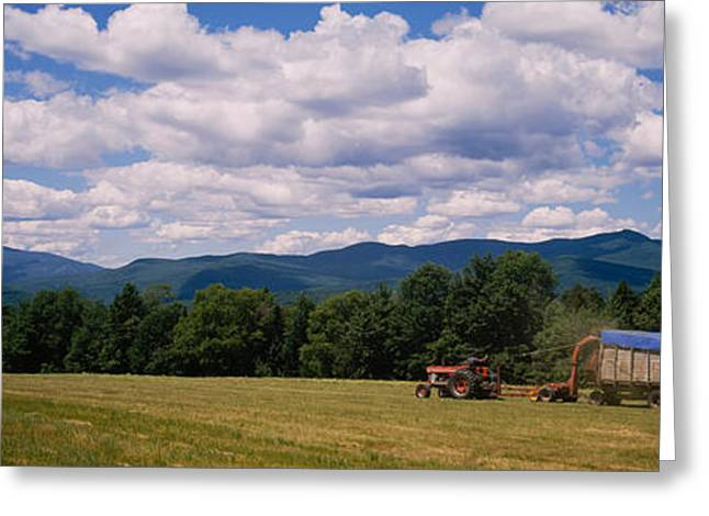 Cultivation Greeting Cards - Tractor On A Field, Waterbury, Vermont Greeting Card by Panoramic Images