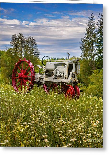 Youthful Greeting Cards - Tractor Out To Pasture Greeting Card by Henry Kowalski