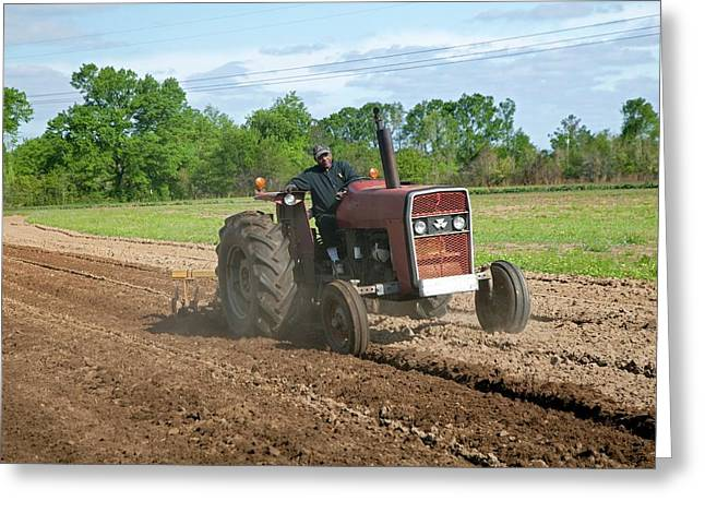 Tractor Ploughing A Field Greeting Card by Jim West