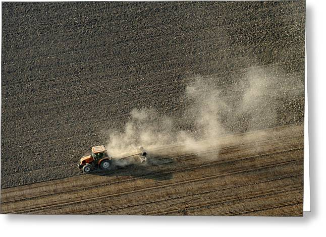 Agronomy Greeting Cards - Tractor Ploughing, Chavagnes En Paillers Greeting Card by Laurent Salomon