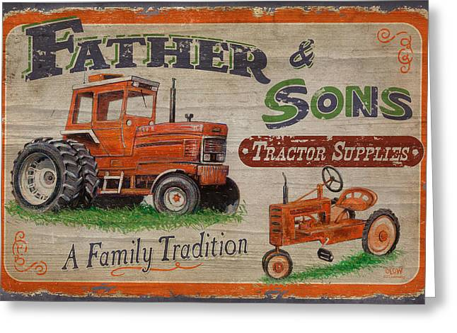 Crops Paintings Greeting Cards - Tractor Supplies Greeting Card by JQ Licensing