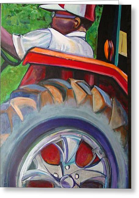 Workday Greeting Cards - Tractor Throne Greeting Card by Ecinja Art Works