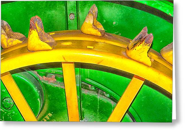 Bailing Hay Greeting Cards - Tractor Wheel Greeting Card by Dennis Dugan
